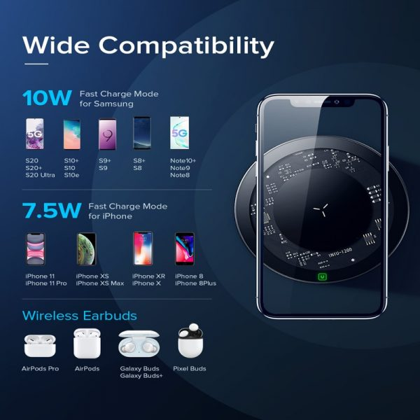 INIU 10W Fast Wireless Charger For Samsung Galaxy S20 S9 S8 Plus Note 9 USB Qi Charging Pad For iPhone 11 Pro Xs Max Xr X 8 Plus