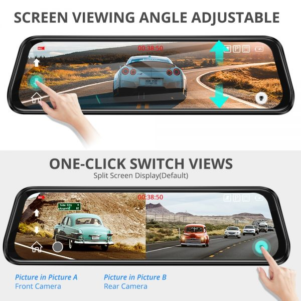 "AZDOME Car dvr Dual Lens Rear View Camera 10"" Full-Screen Touching 1296P Dash Cam Streaming Media Night Vision Dash camera"