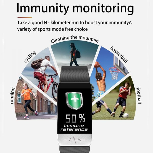 T1S Thermometer bracelet With Temperature Immune Measure Heart Rate Blood Pressure Monitor Weather Forecast Drinking Remind
