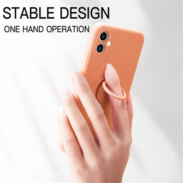 Soft Liquid Silicone Strap Phone Case For iPhone 11Pro XR X XS Max 7 8 6 6S Plus SE Stand Magnetic Ring Holder Slim Thin Cover